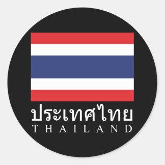 Thailand Flag With Thailand Word In Thai Language Classic Round Sticker
