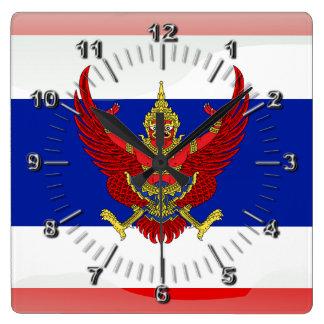 Thailand glossy flag square wall clock