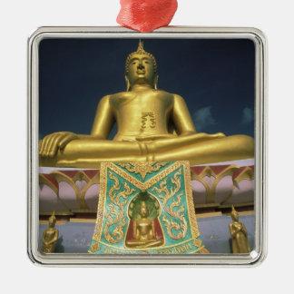Thailand, Koh Samui Island. Big Buddha. Silver-Colored Square Ornament