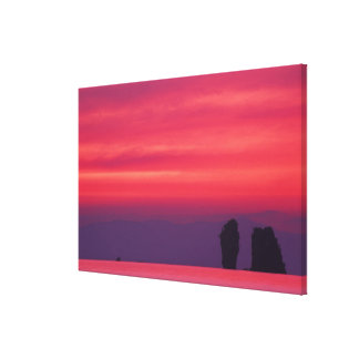 Thailand, Phang Nga Bay. Pink sky reflected in Gallery Wrap Canvas