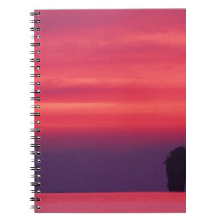 Thailand, Phang Nga Bay. Pink sky reflected in Spiral Notebook