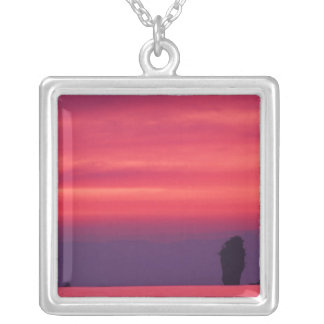 Thailand, Phang Nga Bay. Pink sky reflected in Square Pendant Necklace