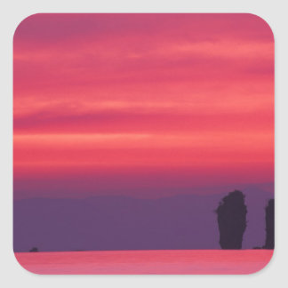 Thailand, Phang Nga Bay. Pink sky reflected in Square Sticker
