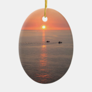 Thailand Sunset Ceramic Oval Ornament