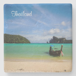 Thailand Travel Beach Photo with Fishing Boat Stone Coaster