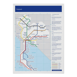 Thailand tube map poster
