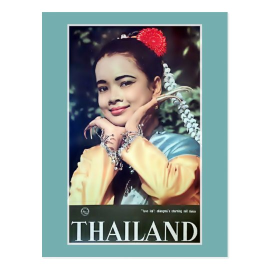 Thailand | Vintage Thai Lady Travel Poster Postcard