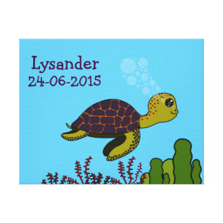 Thalasse the Turtle Stretched Canvas Print