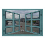 Thames River Through A 6 Pane Open Window Poster