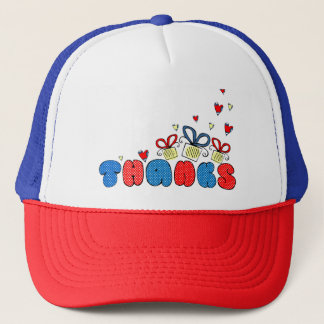 """""""Thankы"""" bold doodle sign with retro halftones Trucker Hat"""