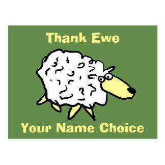 Thank Ewe Fun Sheep Design Postcard