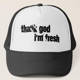 thank god i'm fresh trucker hat