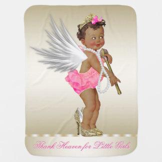Thank Heaven for Little Girls Ethnic Angel Girl Receiving Blankets
