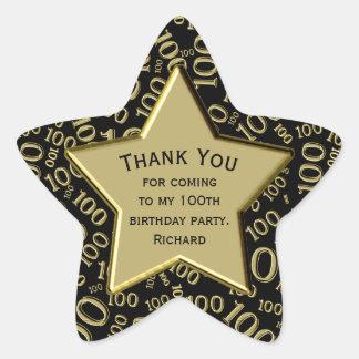 Thank You - 100th Birthday Black and Gold Star Star Sticker