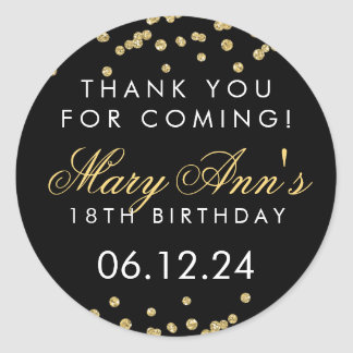 Thank You 18th Birthday Gold Glitter Confetti Blac Classic Round Sticker
