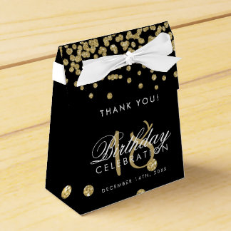 Thank You 18th Birthday Gold Glitter Confetti Blac Favor Box
