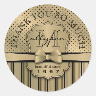 Thank You 50th Birthday Champagne Gold Polka Dot S Classic Round Sticker