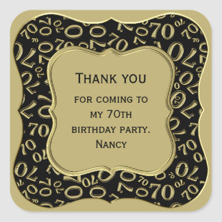 Thank you - 70th Birthday Black and Gold Party Square Sticker