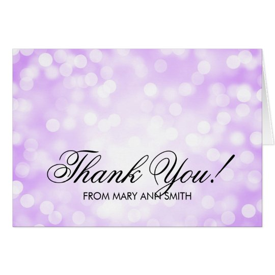 """Thank you"" 70th Birthday Purple Glitter Lights Card"