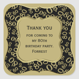 Thank you - 80th Birthday Black and Gold Party Square Sticker