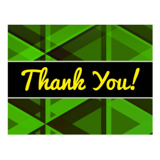 """""""Thank You!"""" + Abstract Green Triangles Pattern Postcard"""