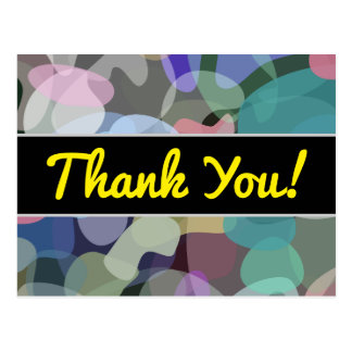 """Thank You!""; Abstract Multicolored Blotch Pattern Postcard"