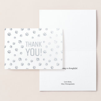 Thank You | Animal Paw Prints Silver Foil Card