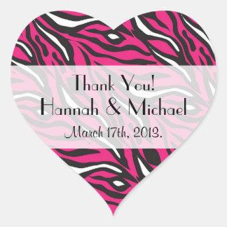 Thank You - Animal Print, Zebra Stripes - Pink Heart Sticker