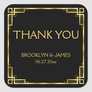 Thank You Art Deco Black And Gold Wedding Stickers
