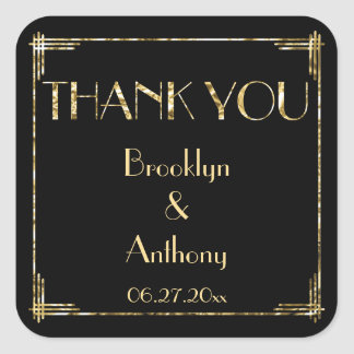 Thank You Art Deco Gold Foil Wedding Stickers