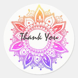 Thank You Artsy Mandala Colorful Round Sticker