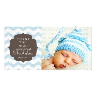 Thank You Baby Blue Chevron Zigzag Stripes Customized Photo Card