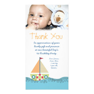 Thank You Baby Boy s 1st Birthday Party Photocard Custom Photo Card
