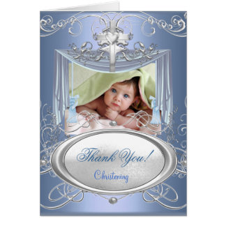 Thank You Baby Christening Baptism Boy Blue Silver Card