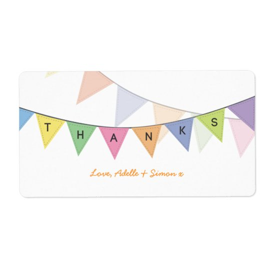 Thank You Baby Circus Rainbow Banner Label Shipping Label