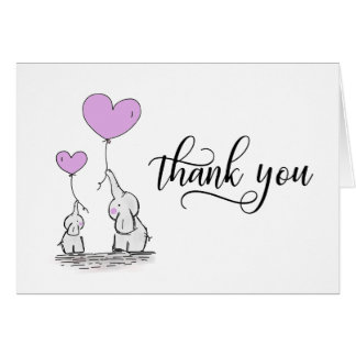 THANK YOU Baby Shower Elephant LAVENDER | BLANK Card