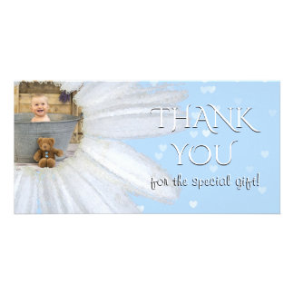 Thank You Baby Shower Photo | Daisy Blue Hearts Card