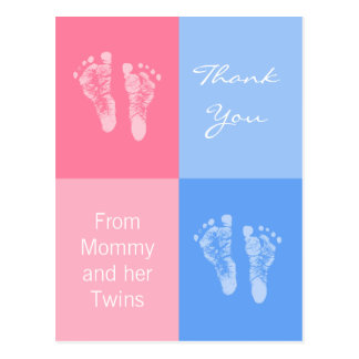 Thank You Baby Shower Twins Boy Girl Footprints Postcard
