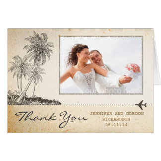 thank you beach palms vintage photo cards