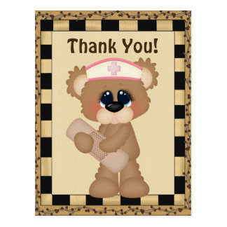 Thank you bear nurse postcard stamp