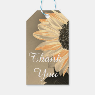 Thank You Beige And Peach  Sunflower Gift Tag