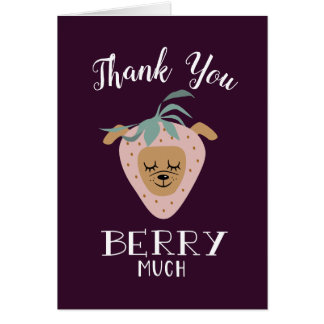 """Thank You BERRY Much"" Strawberry Dog Pun Card"