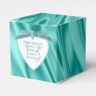 """Thank You"" Birthday Aqua Faux Satin Look Favor Box"