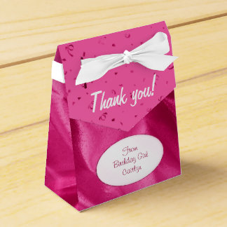 """Thank You"" Birthday Fuchsia Textured Fabric Look Favor Box"