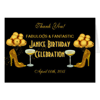 Thank You Birthday Party Celebration Black Gold Card