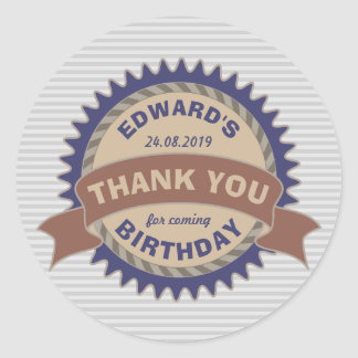 Thank You Birthday Party Favor Badge Monogram Logo Classic Round Sticker