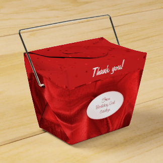 """""""Thank You"""" Birthday Red Textured Fabric Look Favor Box"""