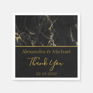 Thank You Black and Gold Elegant Marble Paper Napkins