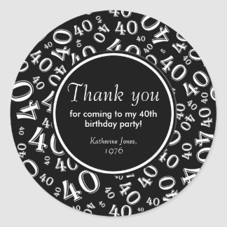 Thank You: Black and White 40th Birthday Party Round Sticker