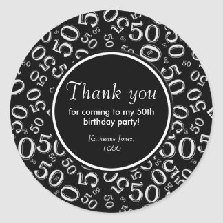 Thank You: Black and White 50th Birthday Party Round Sticker
